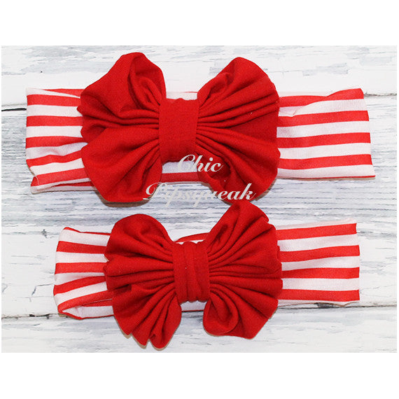 Floppy Bow Headband, Red Floppy Bow on Red and White Stripe