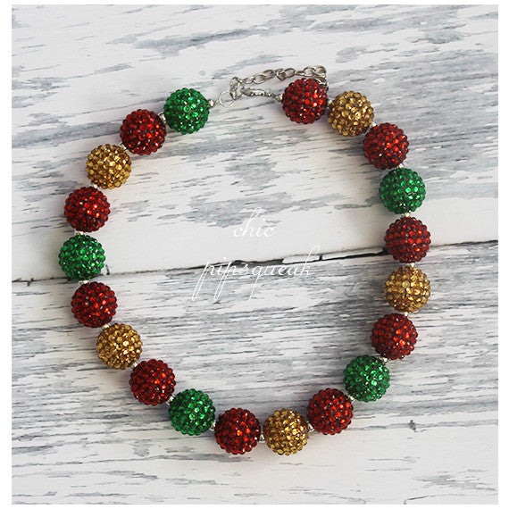 Chunky Bubblegum Baby and Kids Necklace, Red, Green and Gold