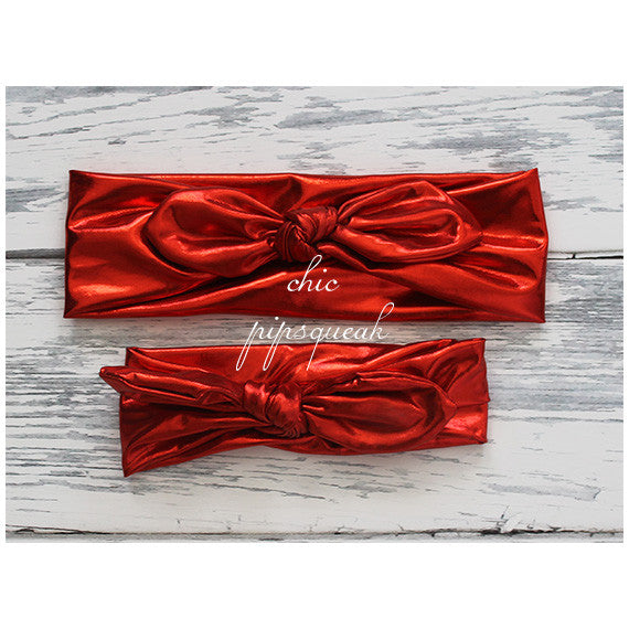 Top Knot Headband, Metallic Red Top Knot