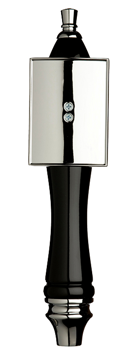 Large Black Pub Tap Handle with Silver Rectangle Shield