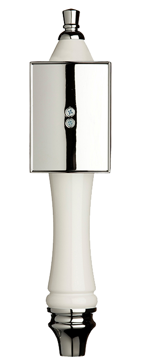 Large White Pub Tap Handle with Silver Rectangle Shield