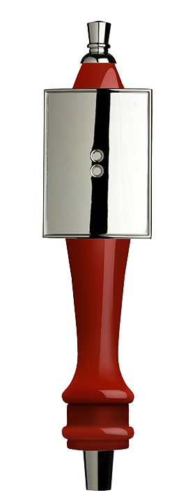 Medium Red Pub Tap Handle with Silver Rectangle Shield