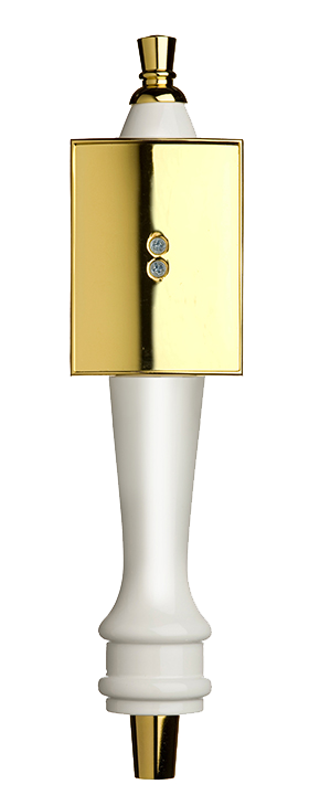 Medium White Pub Tap Handle with Gold Rectangle Shield