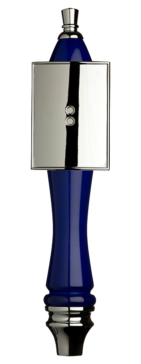 Large Blue Pub Tap Handle with Silver Rectangle Shield