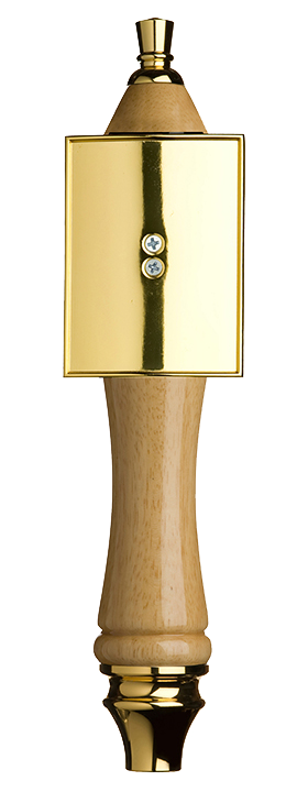 Large Natural Pub Tap Handle with Gold Rectangle Shield