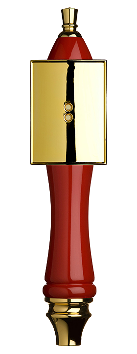 Large Red Pub Tap Handle with Gold Rectangle Shield