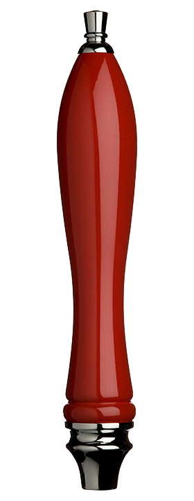 Large Red Pub Tap Handle with Silver