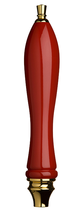 Large Red Pub Tap Handle with Gold