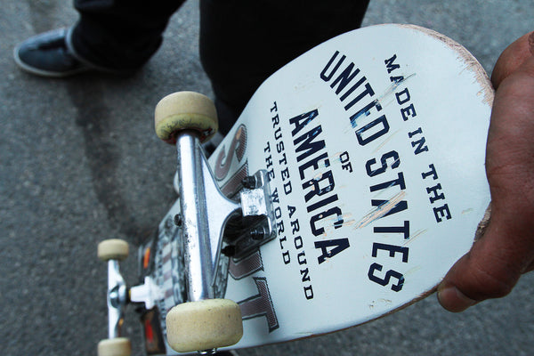 A photo of a skateboard with a fisheye. Photo is a free high resolution stock image to use any way you choose.