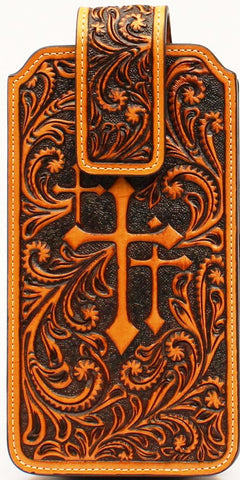 Western Tooled Cell Phone Case with Crosses for Larger Phones