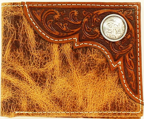 Western Distressed Tan Bi-Fold Wallet with Round Silver Concho