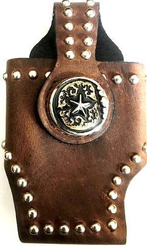 Western Brown Cell Phone Holder with Tri-Color Star Concho