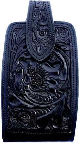 "Western Hand Tooled Black Leather Cell Phone Holder  - Holds Up to 7"" Tall"