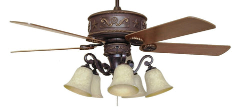 (CC-KVWST-LK37A) Western Star Lighted Ceiling Fan with Light Kit