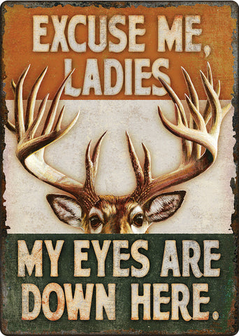 "(RE1449) ""Eyes Down Here"" Humorous Western Tin Sign"