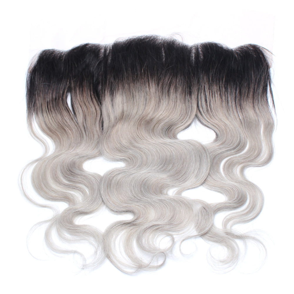 Luxury 10A 1B Gray Ombre Body Wave Lace Frontal