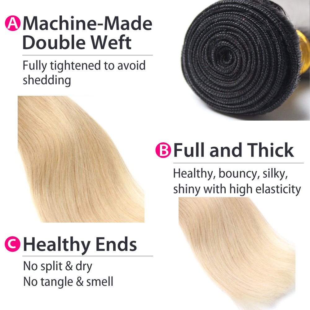Luxury 10A 1B 613 Blonde Ombre Brazilian Straight Hair 3 Bundles Details