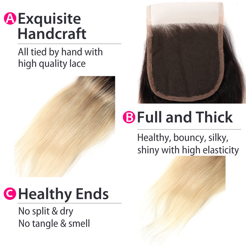 Luxury 10A 1B 613 Blonde Ombre Malaysian Straight Lace Closure Details
