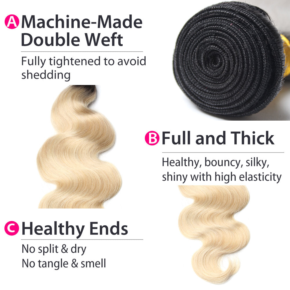 Luxury 10A 1B 613 Blonde Ombre Malaysian Body Wave Hair 4 Bundles Details