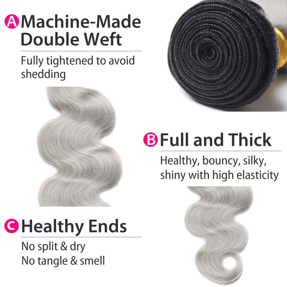 Luxury 10A Peruvian 1B Gray Ombre Body Wave Hair Details