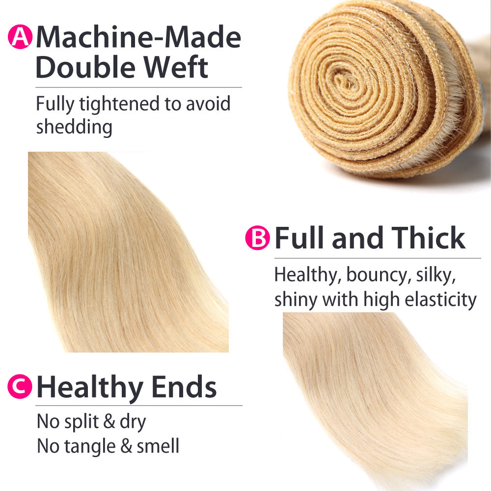 Luxury 10A Malaysian 613 Blonde Straight Hair 3 Bundles Details