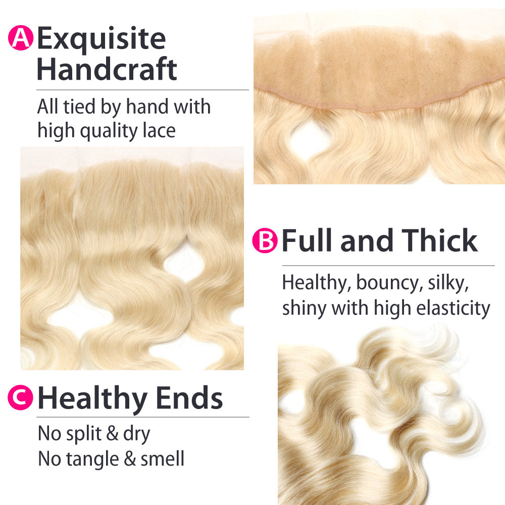 Luxury 10A 613 Blonde Body Wave Lace Frontal Details