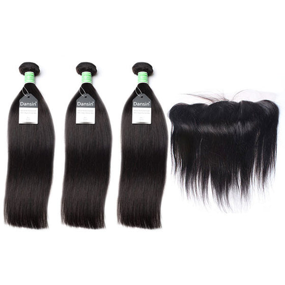 Brazilian Straight Hair 3 Bundles With 1 Pc Lace Frontal