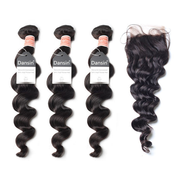 Malaysian Loose Wave Hair 3 Bundles With 1 Pc Lace Closure