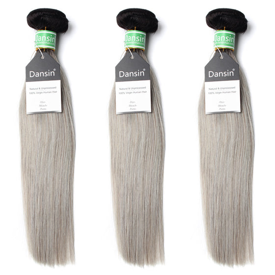 Luxury 10A Brazilian 1B Gray Ombre Straight Hair 3 Bundles