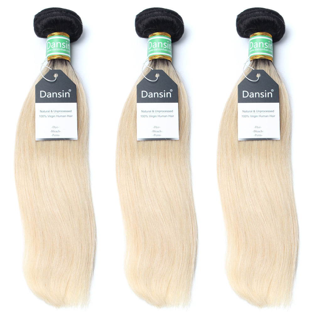 Luxury 10A 1B 613 Blonde Ombre Brazilian Straight Hair 3 Bundles
