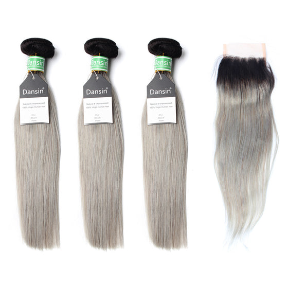 Luxury 10A Brazilian 1B Gray Ombre Straight Hair 3 Bundles With 1 Pc Lace Closure