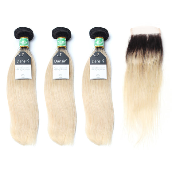 Luxury 10A 1B 613 Blonde Ombre Brazilian Straight Hair 3 Bundles With 1 Pc Lace Closure