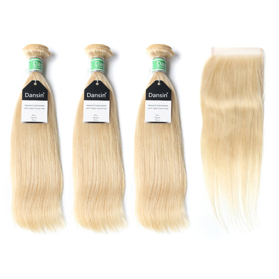 Luxury 10A Brazilian 613 Blonde Straight Hair 3 Bundles With 1 Pc Lace Closure