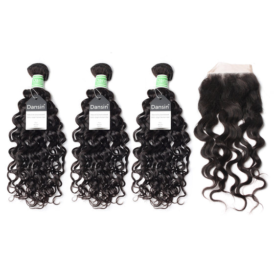 Luxury 10A Brazilian Natural Wave Hair 3 Bundles With 1 Pc Lace Closure
