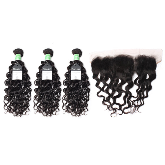 Luxury 10A Brazilian Natural Wave Hair 3 Bundles With 1 Pc Lace Frontal