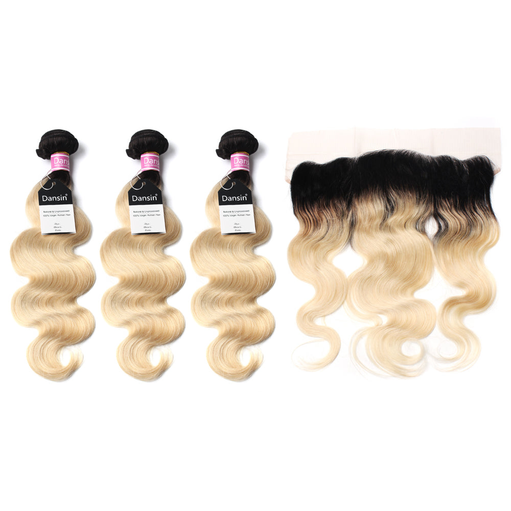 Luxury 10A 1B 613 Blonde Ombre Peruvian Body Wave Hair 3 Bundles With 1 Pc Lace Frontal