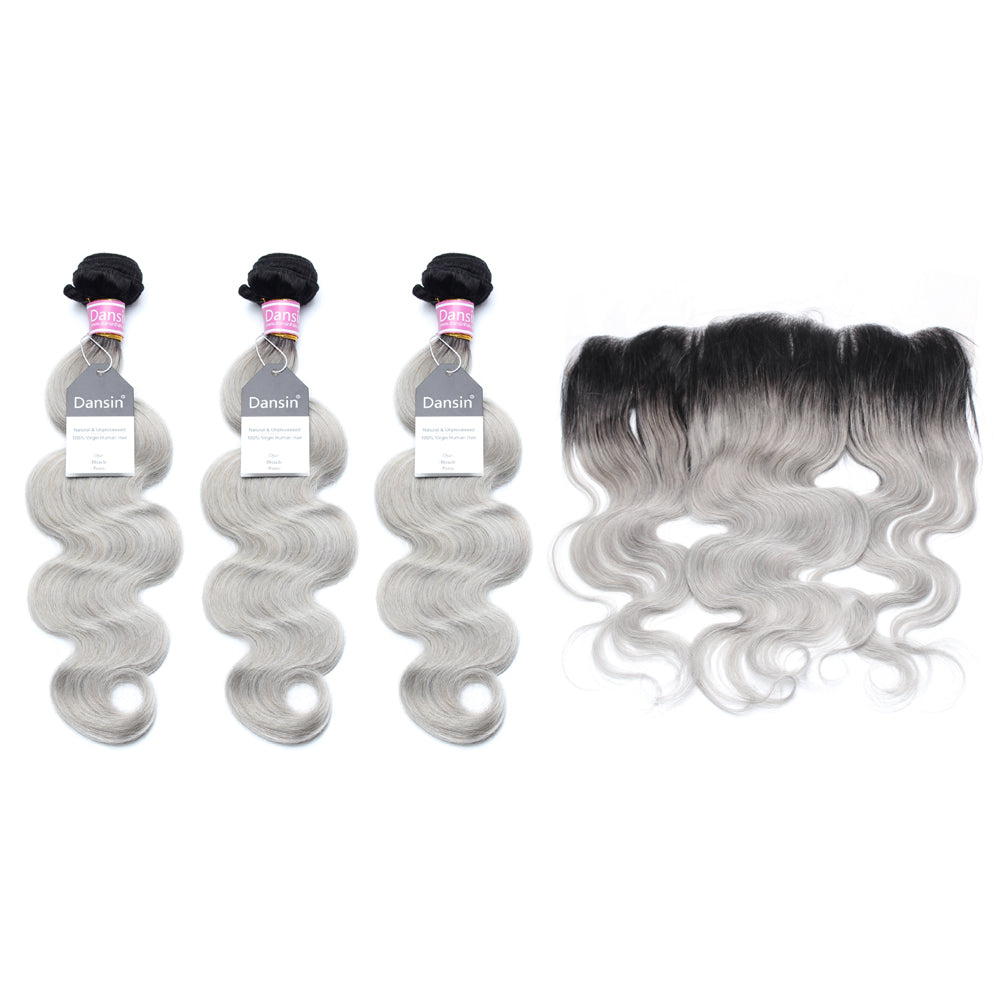 Luxury 10A Peruvian 1B Gray Ombre Body Wave Hair 3 Bundles With 1 Pc Lace Frontal