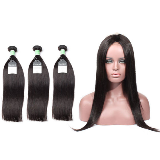 Brazilian Straight Hair 3 Bundles With 1 Pc 360 Lace Frontal