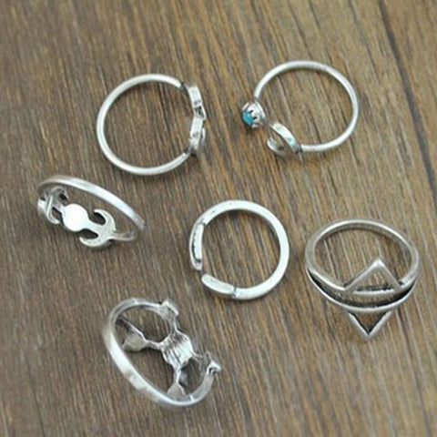 Twisted Wire - Sun & Moon Ring Set 6
