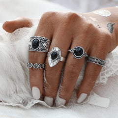 Black Stone 5 Ring Set in Silver 1