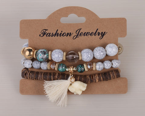 Twisted Wire Multi-Layered Wood & Bead Bracelets with Tassel1