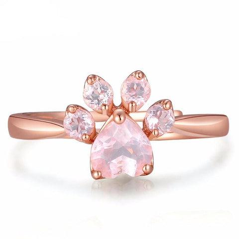 Twisted Wire Rose Quartz Paw Ring 2