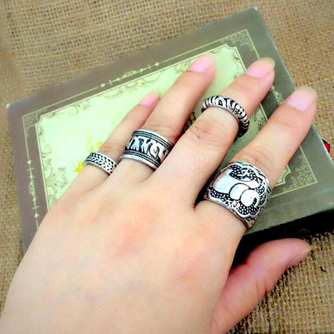 Twisted Wire - Vintage Boho Elephant Ring Set 7