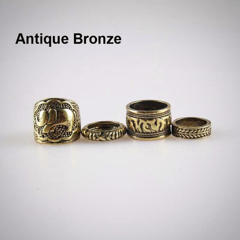 Twisted Wire - Vintage Boho Elephant Ring Set 8