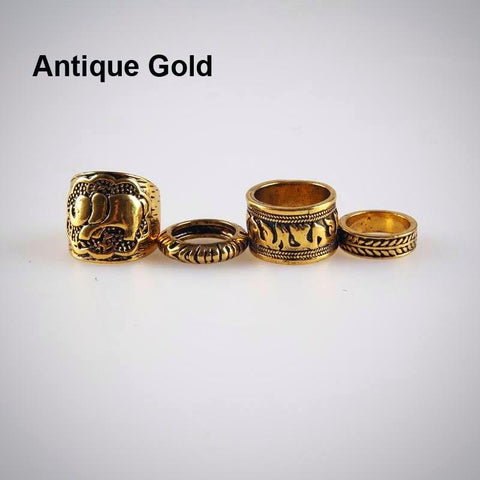 Twisted Wire - Vintage Boho Elephant Ring Set 6