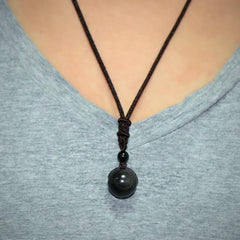 buy Rainbow Eye Black Obsidian Necklace Twisted Wire