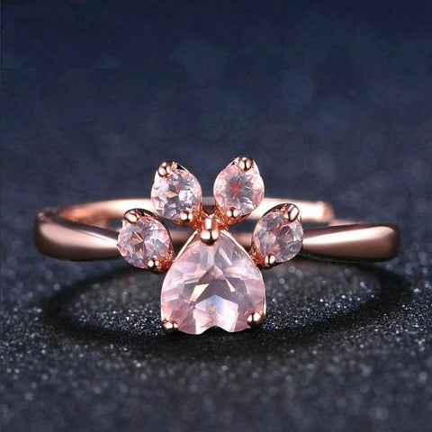 Twisted Wire Rose Quartz Paw Ring 5