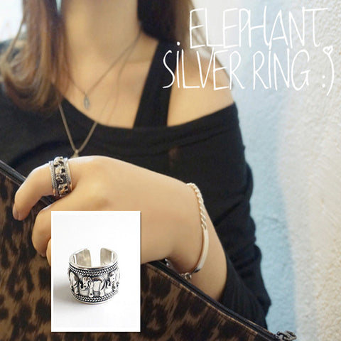 Twisted Wire Vintage Silver Elephant Ring