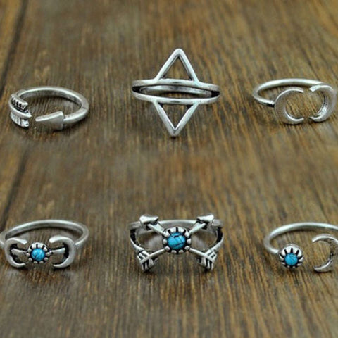 Twisted Wire - Sun & Moon Ring Set 4