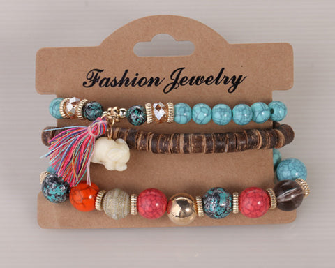 Twisted Wire Multi-Layered Wood & Bead Bracelets with Tassel2